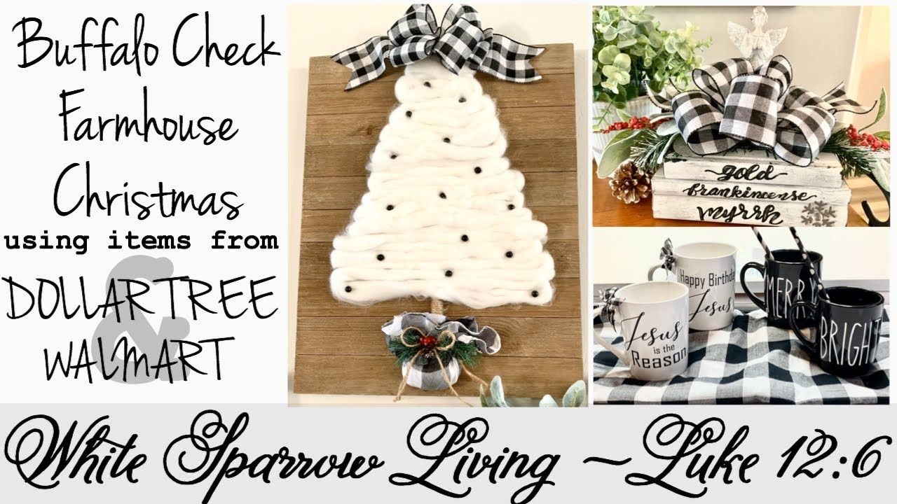 Diy Buffalo Check Farmhouse Christmas Decor Dollar Tree Youtube Farmhouse Christmas Decor Christmas Decorations For Kids Christmas Decorations