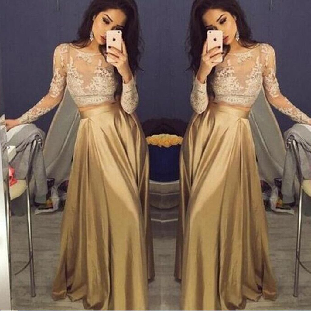 long sleeve gold lace sexy aline pretty prom gown dress