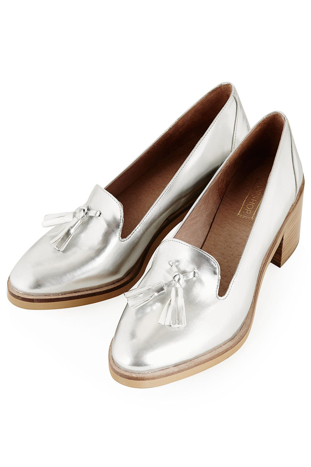 silver heeled loafers WHAT Sort of desperately needs these. I had silver  penny loafers in