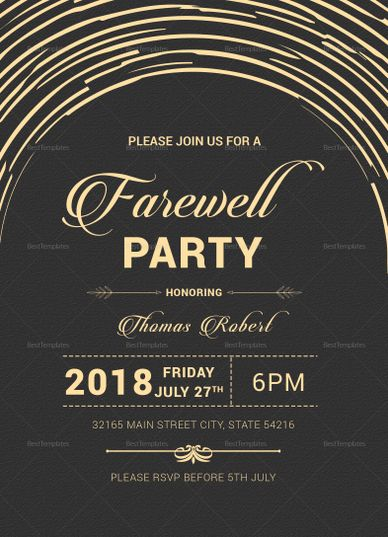 Modern Farewell Party Invitation Template Party Invite Template