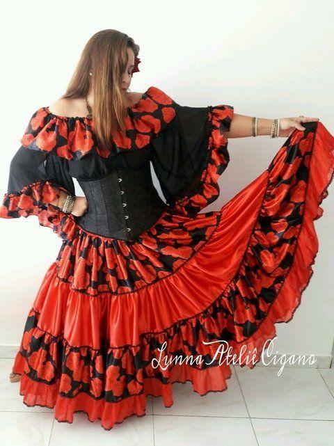 Saia Vermelha Com Floral Moda Cigana Roupa Cigana Roupa Cigana