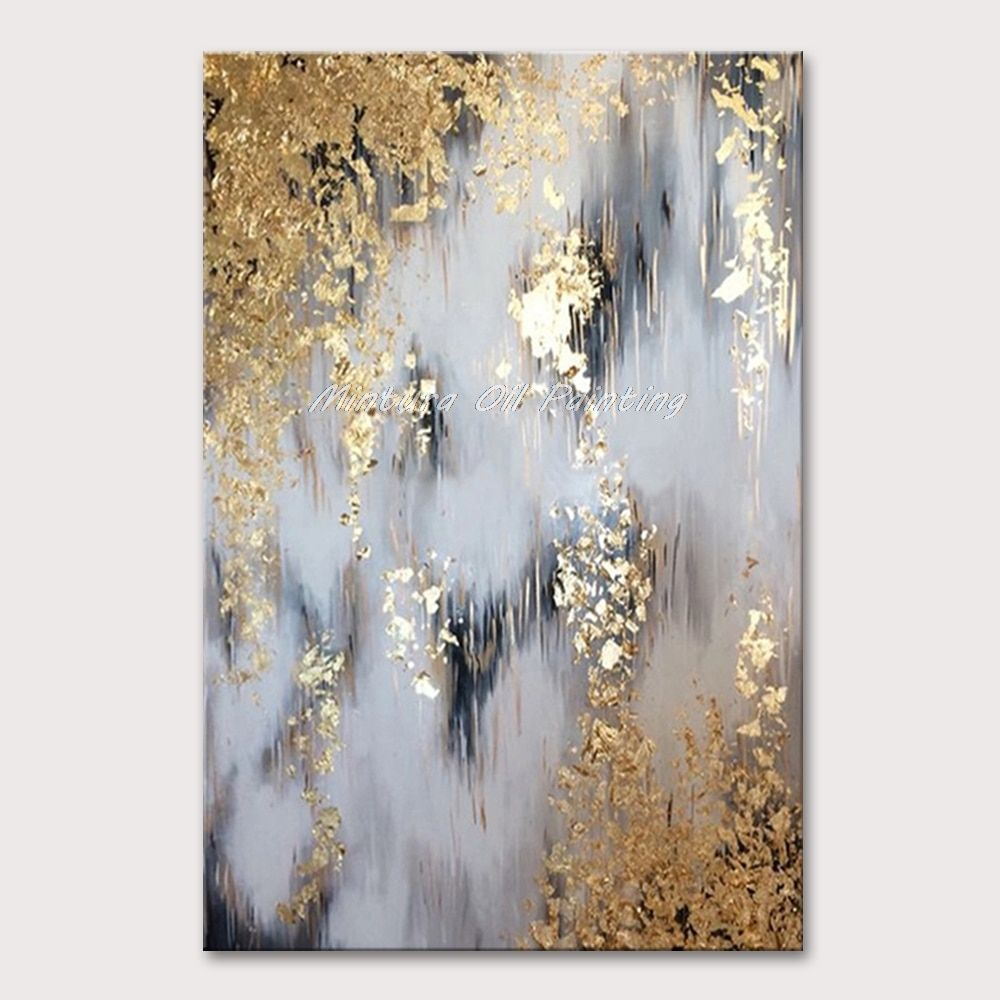 Modern Abstract Black Gold White Oil Painting On Canvas Home Decoration Hand Paintings Wall Art Picture For Living Room Unframed Abstract Canvas Wall Art Gold Foil Art Canvas Wall Art Pictures