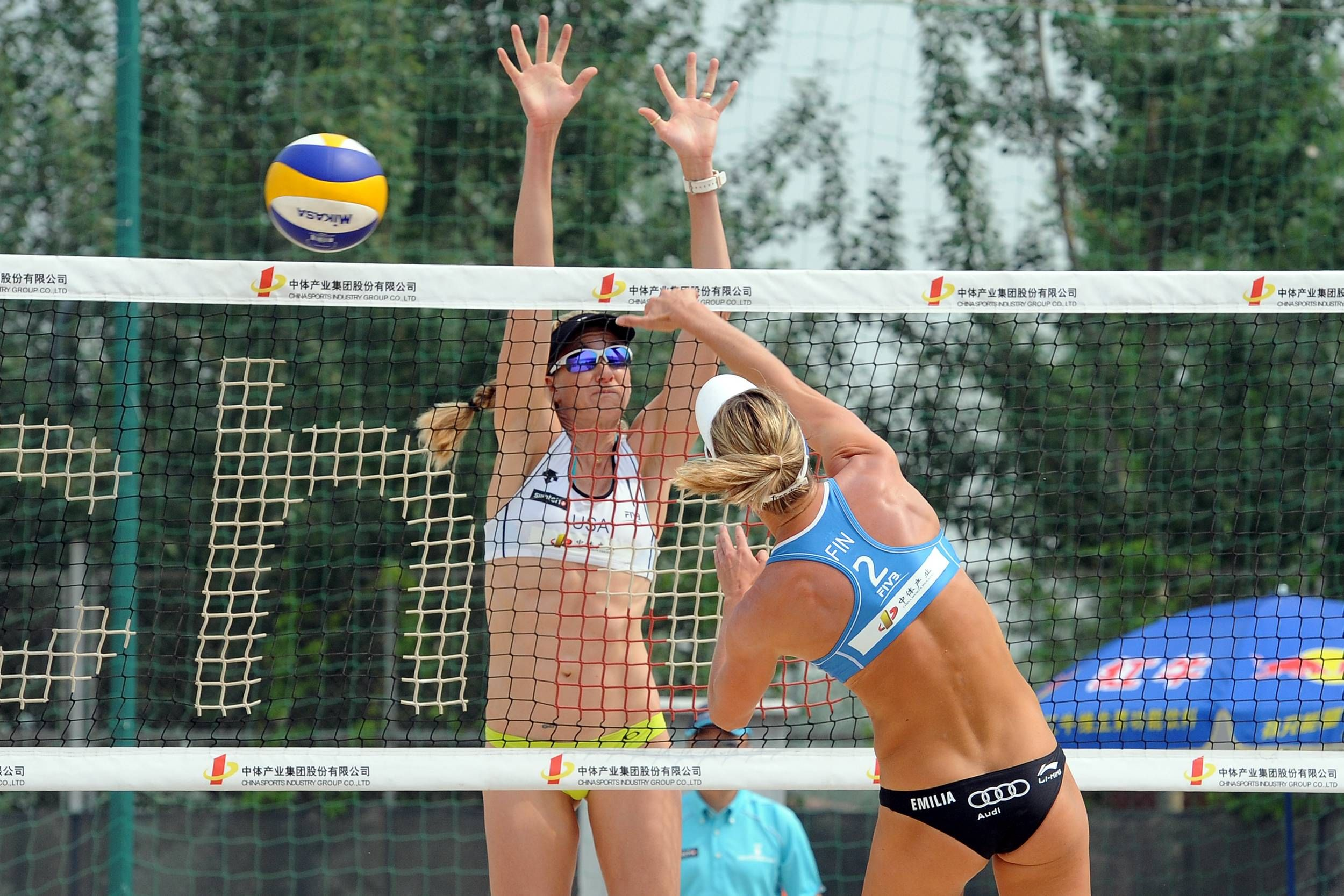 Beach Volleyball Action From The Fivb Beijing Grand Slam Usa S Two Time Olympic Champion Kerri Walsh T Beach Volleyball Fivb Beach Volleyball Olympic Champion
