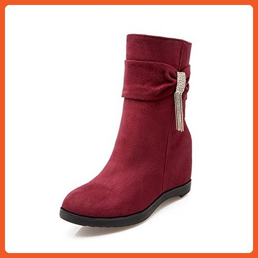 Women's High-Heels Pointed Closed Toe Imitated Suede Low-Top Solid Zipper Boots Red-Chains 41
