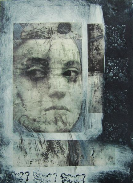 Denise Faucher. Monotype with chine collé of digital print