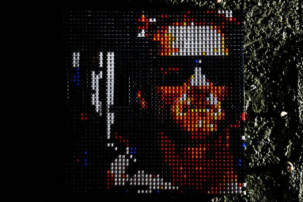 Lego mosaic of Arnold Schwarzenegger as The Terminator created using ...