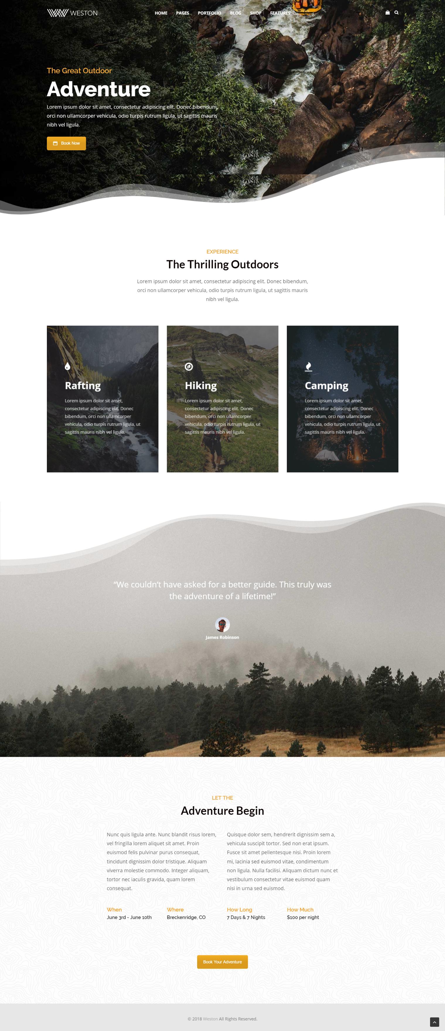 Outdoor Adventure Business Booking Modern Wordpress Theme