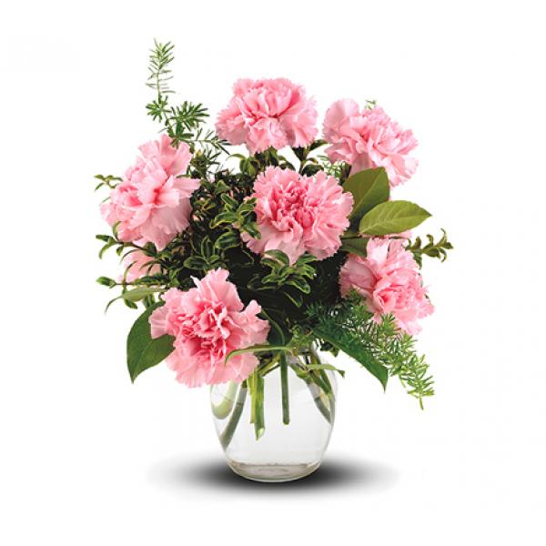 Pure Long Lasting Enjoyment In A Simple Glass Vase Of Carnations And Mixed Foliage The Perfect Little Tr Flower Arrangements Carnation Flower Flower Delivery