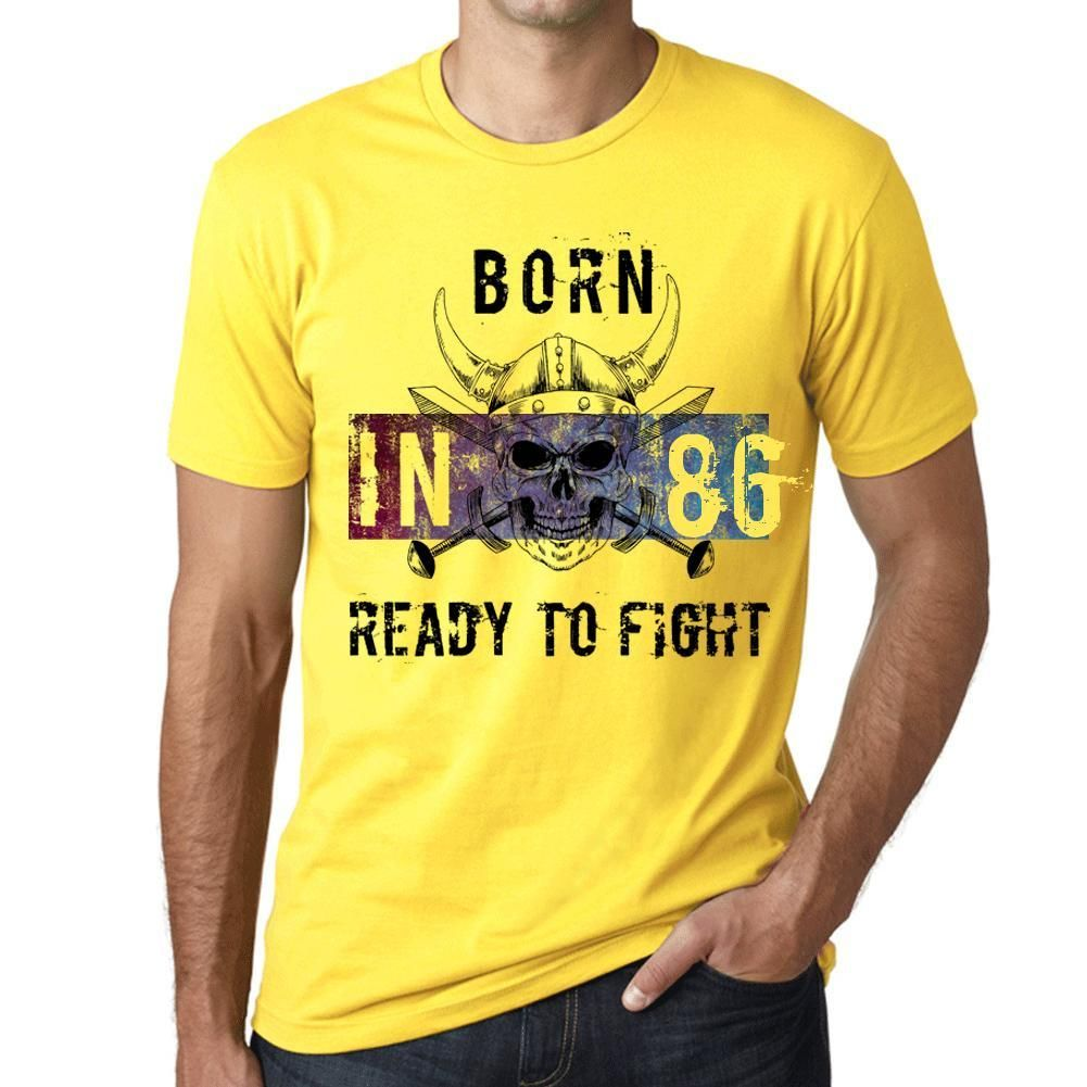 86, Ready to Fight, Men's T-shirt, Yellow, Birthday Gift