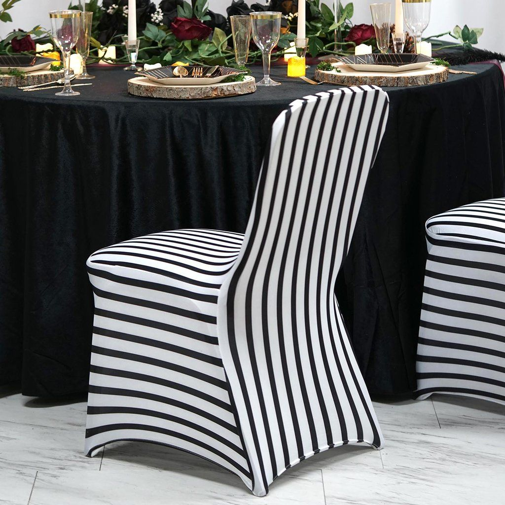 Black White Striped Spandex Stretch Banquet Chair Cover In 2020 With Images Banquet Chair Covers Spandex Chair Covers Chair Covers