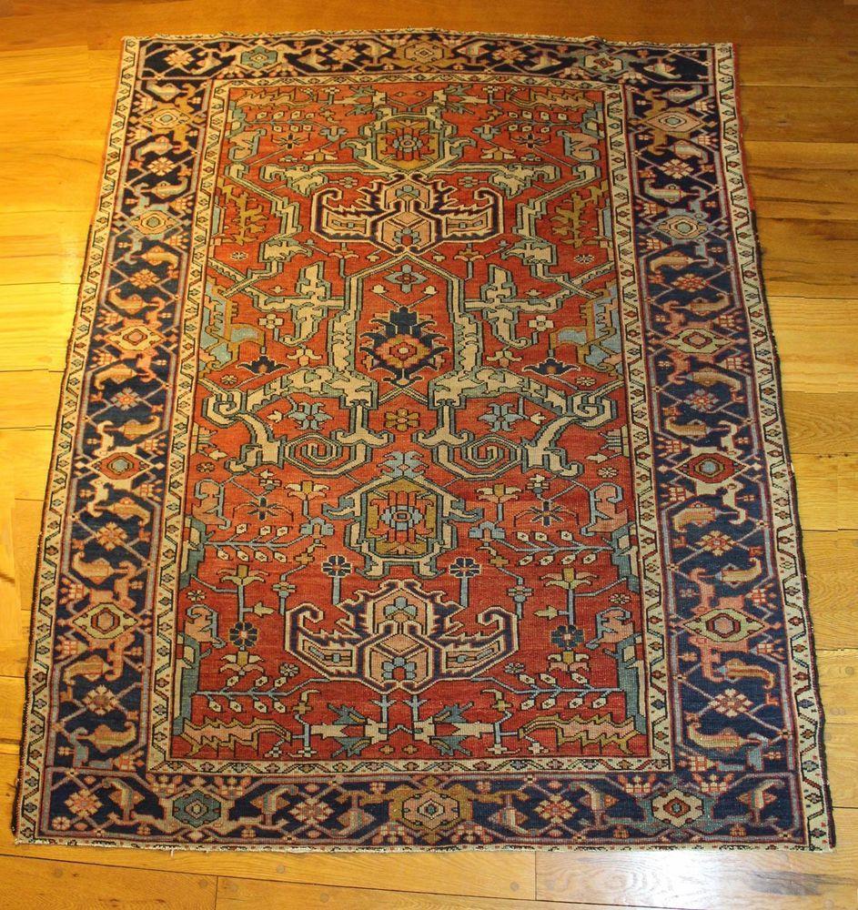 Antique Authentic Hand Woven Persian Serapi Wool Rug Clean Original Ebay Rugs Hand Weaving Wool Rug