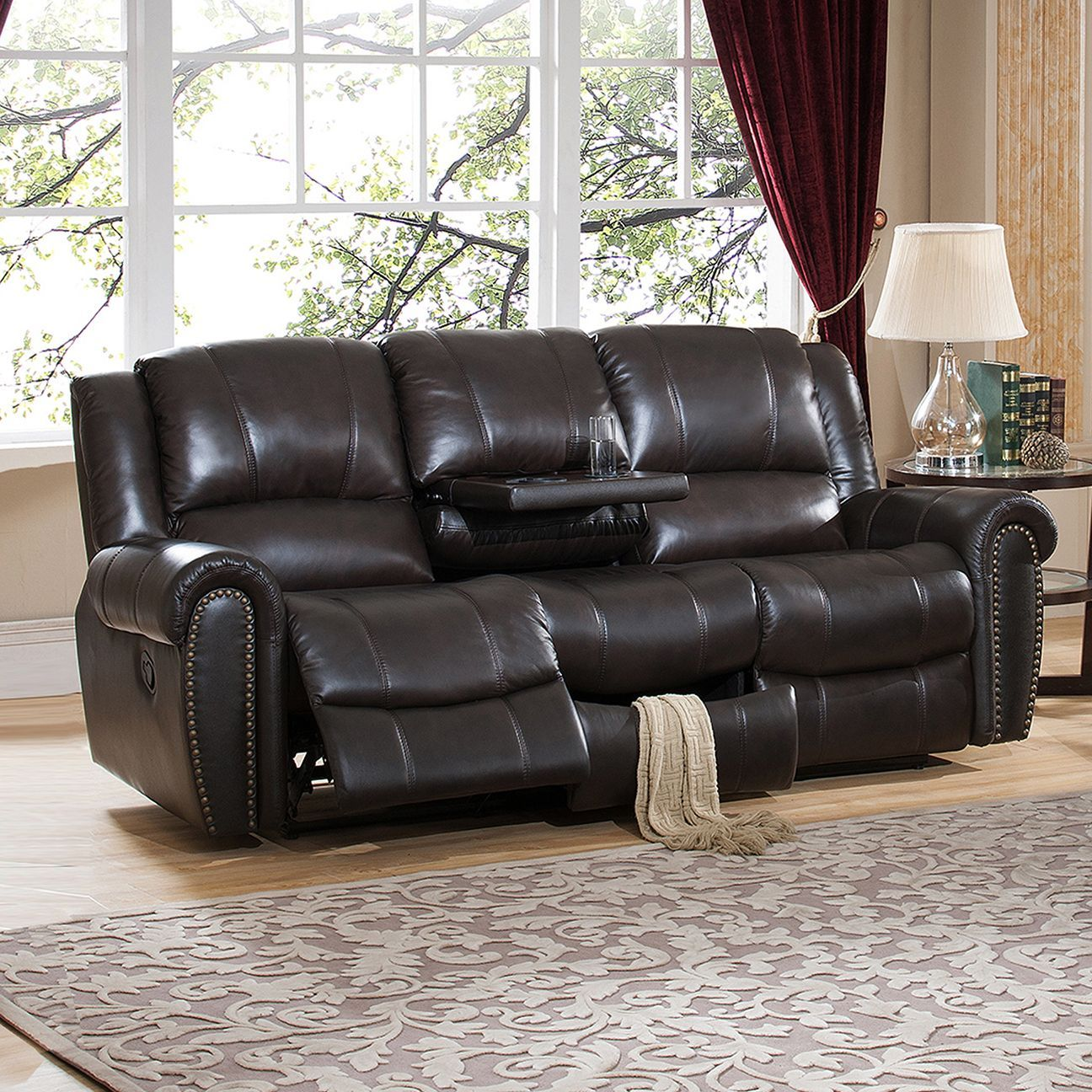 Amax Charlotte Top Grain Leather Reclining Sofa With Memory Foam Storage Drawer And Pull Out Tray Table S Brown