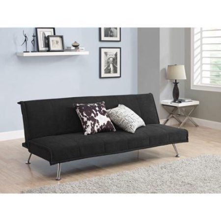 Adjule Microfiber Sofa Couch Futon Sleeper With Metal Legs Black Finish Full Size Bed