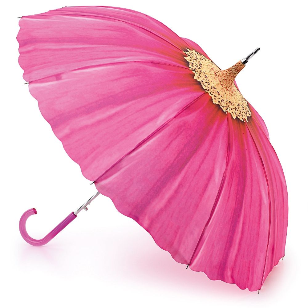 Pagoda-2 Pink Daisy: Beautiful pagoda-inspired umbrella by Fulton