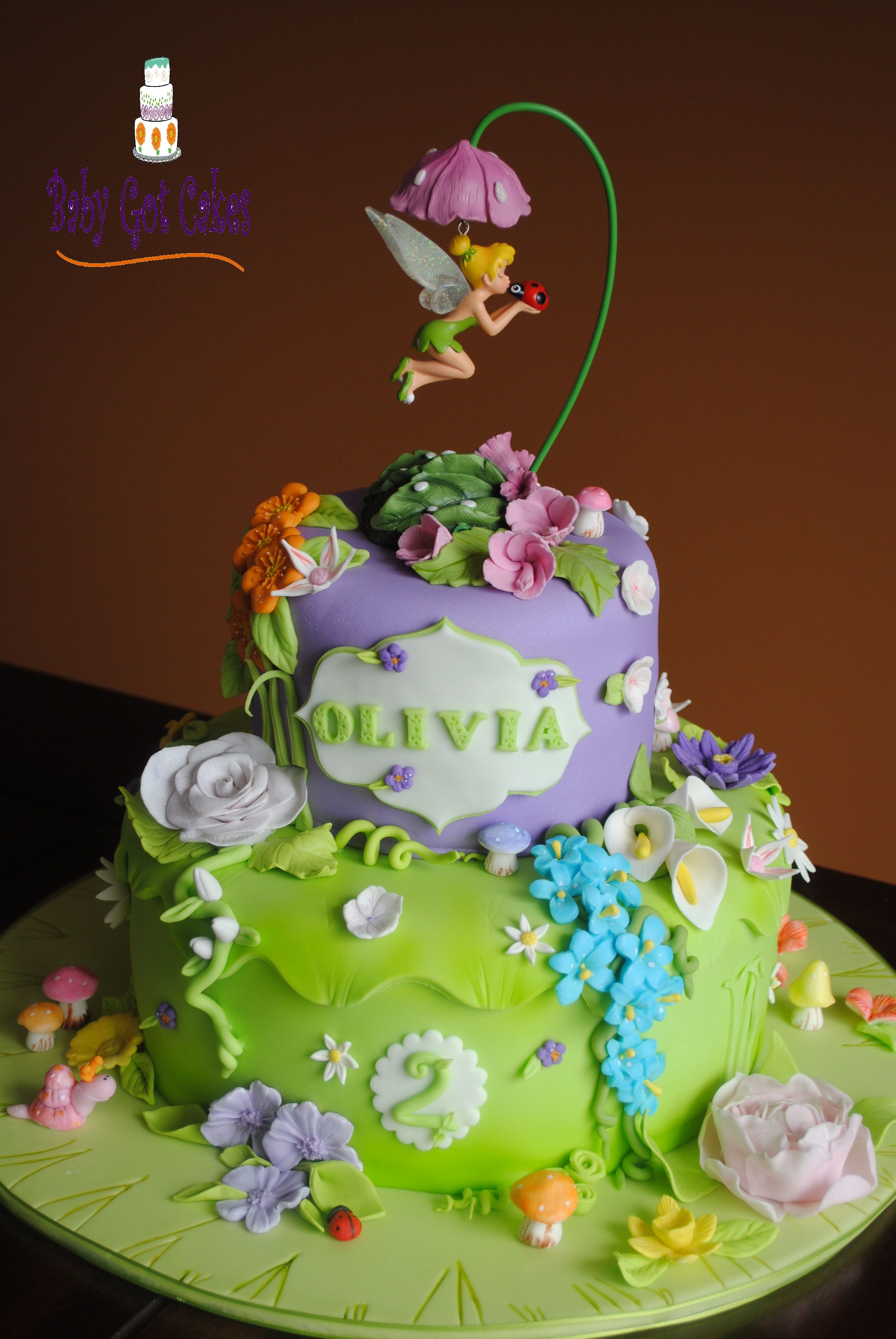Tinker bell fantasy garden two tier two tier 6 10 for Fairy cakes