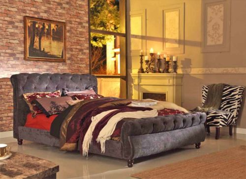Queen bed frame chesterfield new designer bedroom furniture velvet grey charcoal ebay Bedroom furniture chesterfield