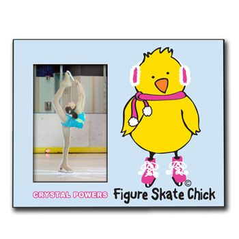 Personalized Figure Skating Wood Frame with Figure Skating Chick - Our 8in X 10in wood frame features a 4in X 6in opening to fit your photo and a customized area for your text.