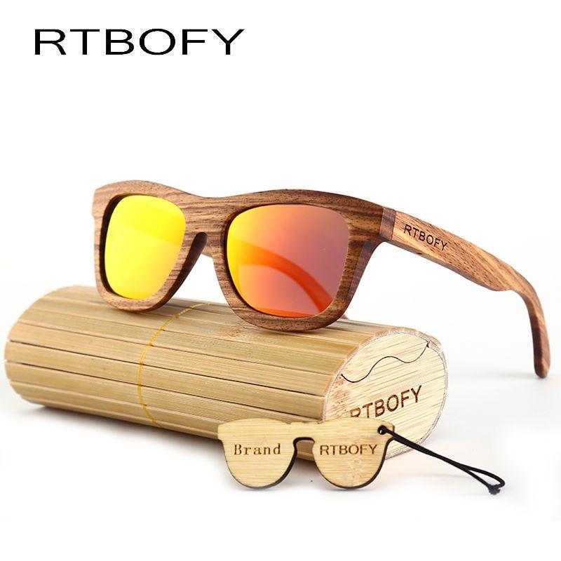 6355bf86366 RTBOFY Wooden Sunglasses Men Bamboo brand sun glasses Vintage Wood Case  Beach Sunglasses for Driving Polarized