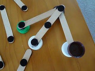 Bottle lids, Velcro and craft sticks