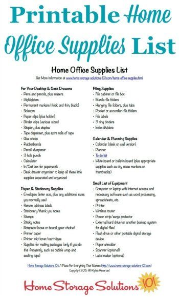 Free Printable Home Office Supplies List Office supplies list - printable office supply list
