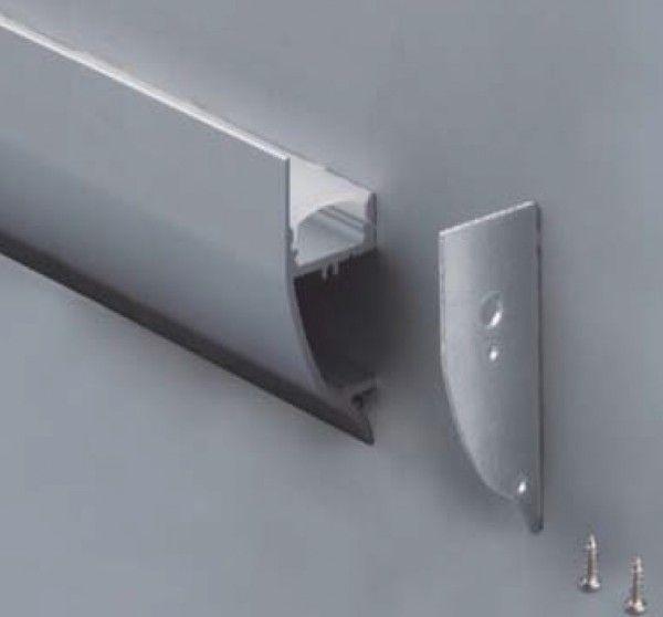 LP43- Veggskinne for 8-12mm Strips - Aluminiumsskinne for strips - LED Strips og tilbehør - LED Lamper