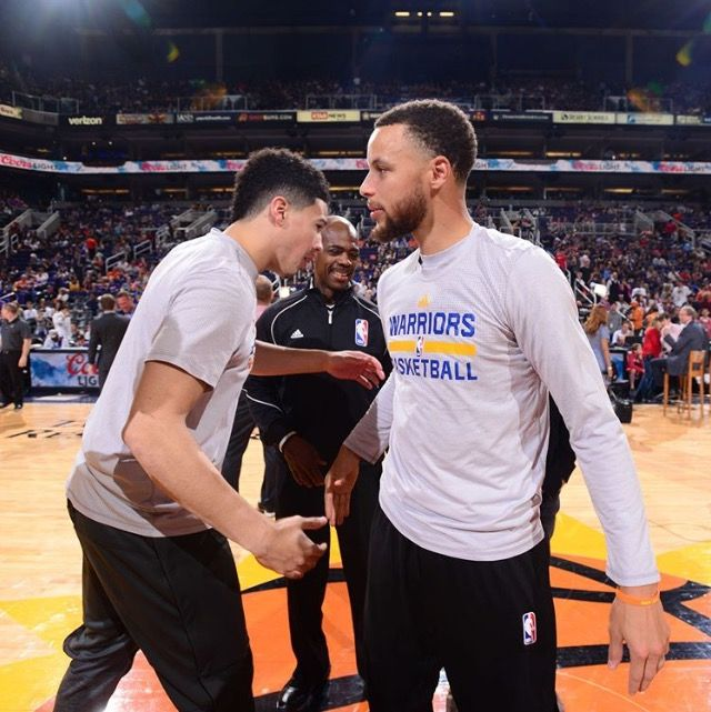 c113aee84 Devin Booker and Stephen Curry April 5
