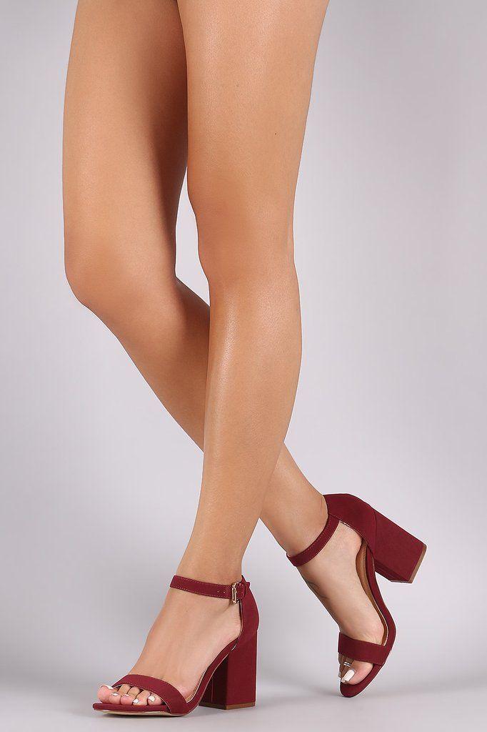 Nubuck Chunky Block Heel   Ankle strap