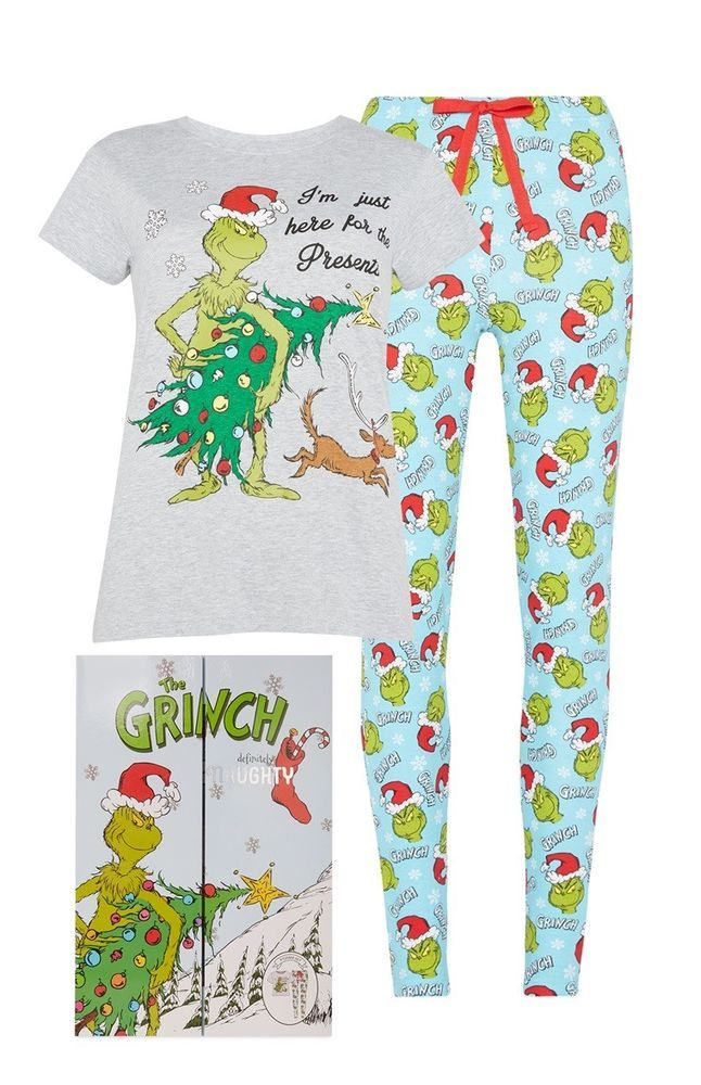 Primark Ladies Grinch Pyjamas Pjs Set Top Bottoms Nightwear Pyjama Xmas Gift Box Ebay
