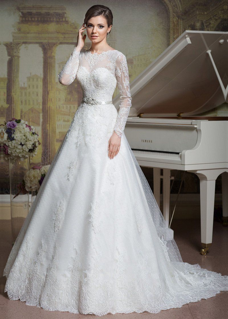 Wedding Dress Simple Elegant Polka Dot Tulle Bateau Neckline A
