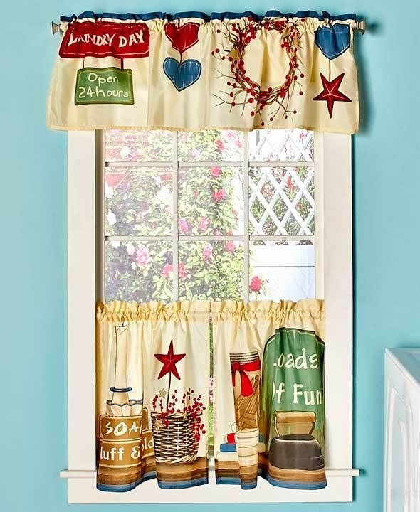 Laundry room 3 pc curtain set loads of fun colorful for Country laundry room curtains