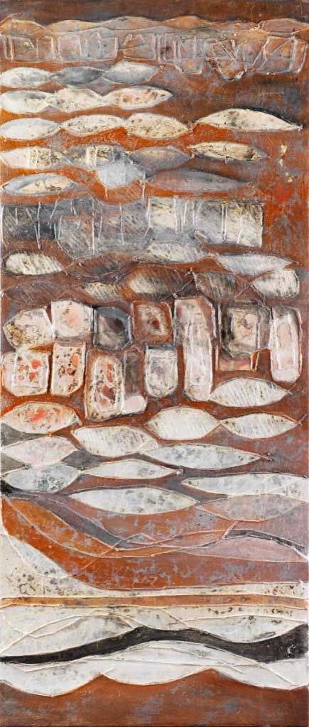 Year: 2009 - Information: Oil on canvas, mixed media painting process, 60x140 cm