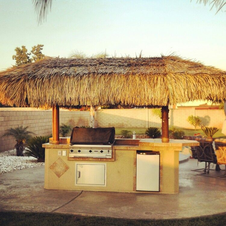 Bbq island with palapa after I repaired it with bbq grill ... on Palapa Bar Backyard id=69581