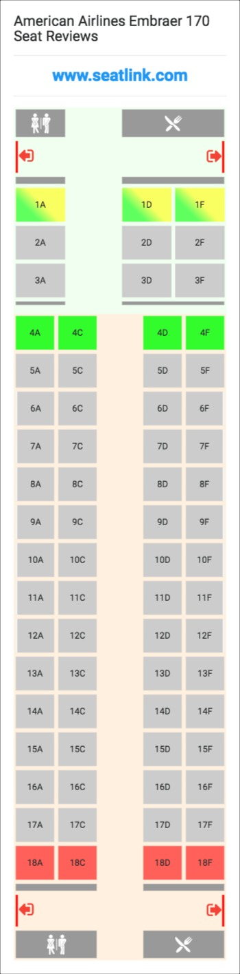 american airlines embraer 170 e70 seat map