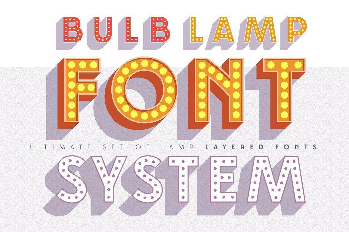 Layered font set 3D Bulb lamp Shadow fonts, Font setting