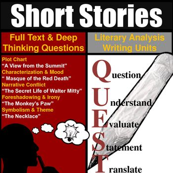 Short Stories Unit Literary Analysis Over 20 Hours Of