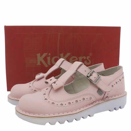 Womens Pale Pink Kickers Bow Brogue