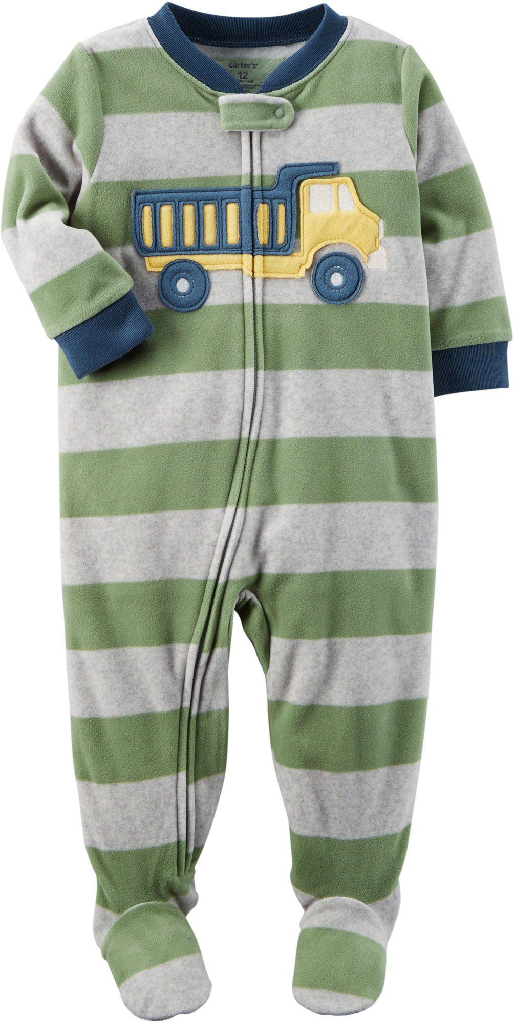 fe544ffe0e09 Carters Boys 12M8 One Piece Striped Truck Fleece Pajamas Green 18 ...