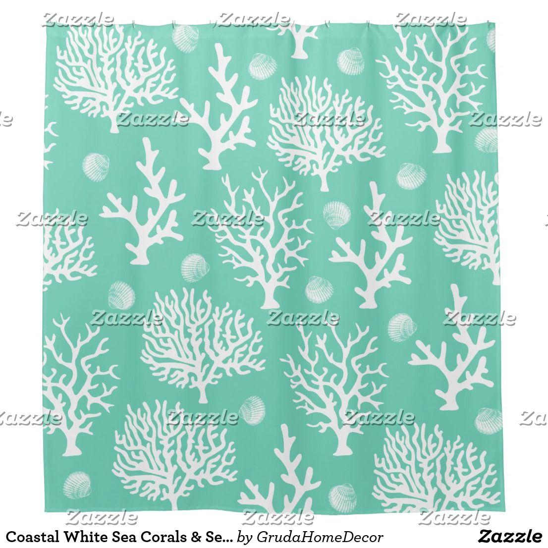 Coastal White Sea Corals Sea Glass Green Shower Curtain Zazzle