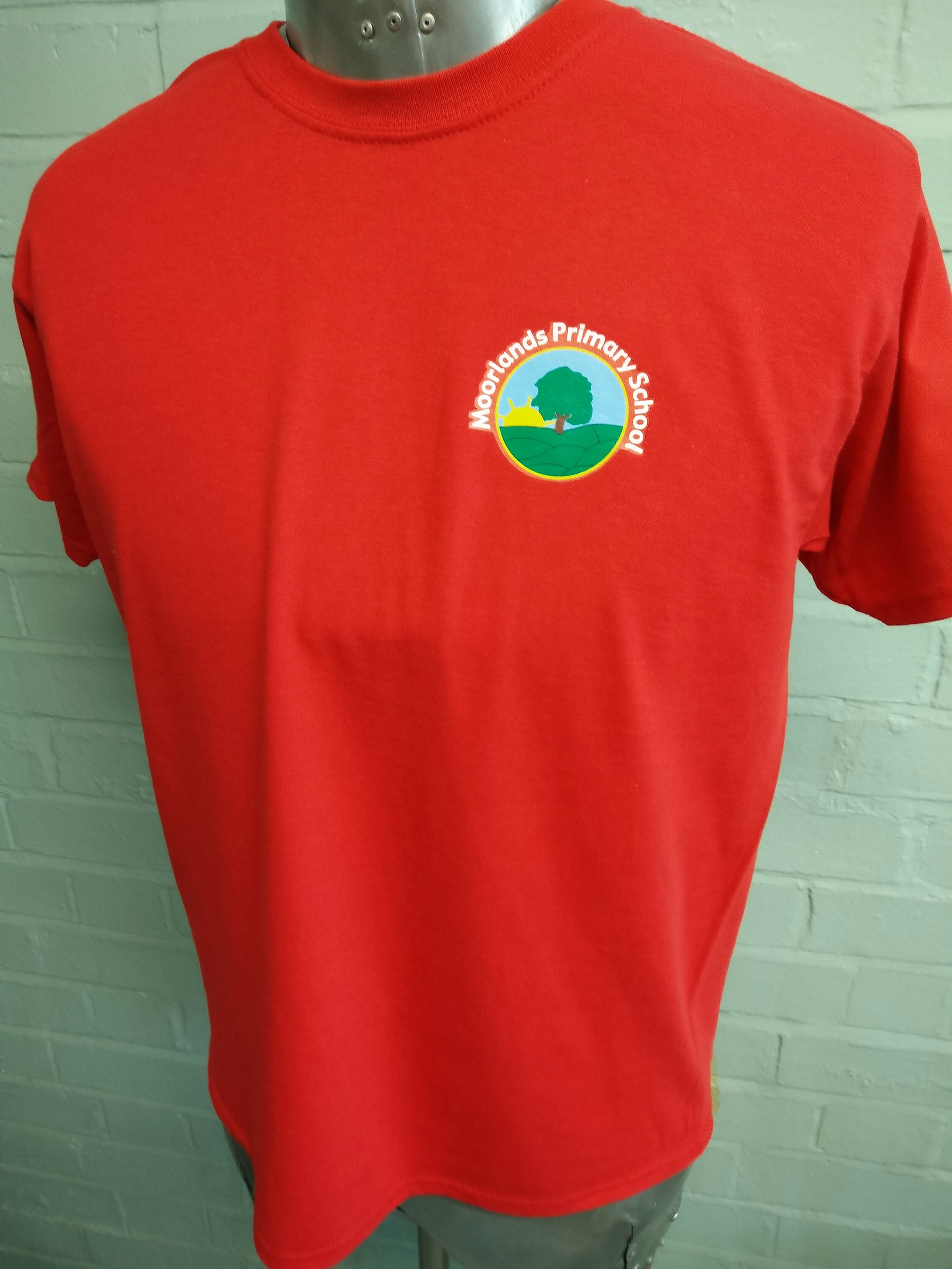 Short Sleeved Red Round Necked Cotton T Shirts For Moorlands Primary