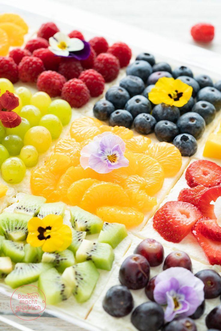 Photo of Bunter Biskuit-Obstkuchen vom Blech | Backen macht glücklich