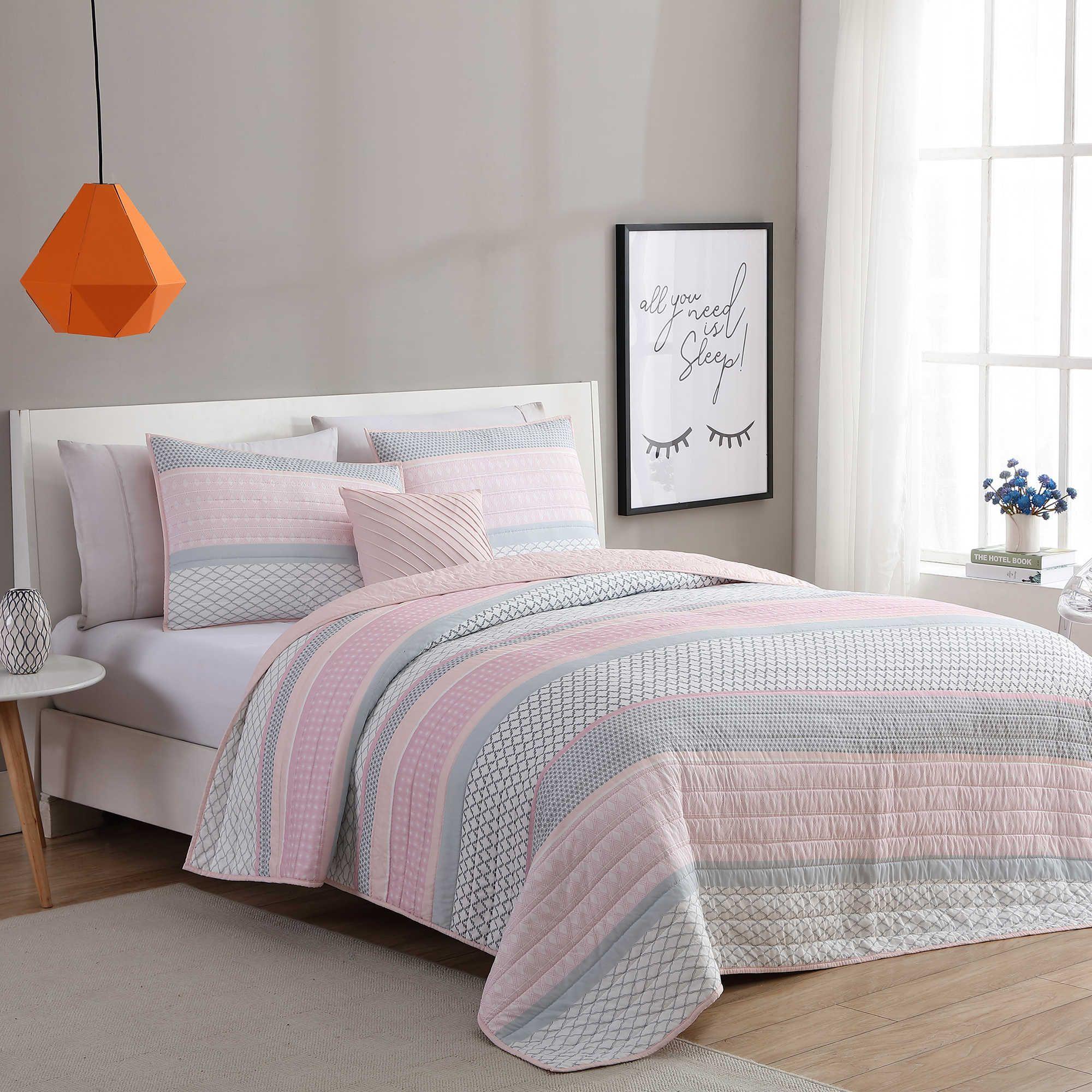 Vcny Home Stockholm Quilt Set In Pink Grey Pink Bedroom Decor Remodel Bedroom Kids Bedroom Remodel
