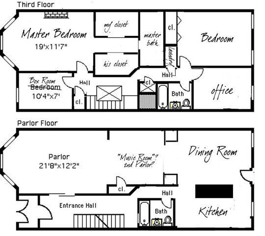 Brownstone row house floor plans google search for Row house plan layout