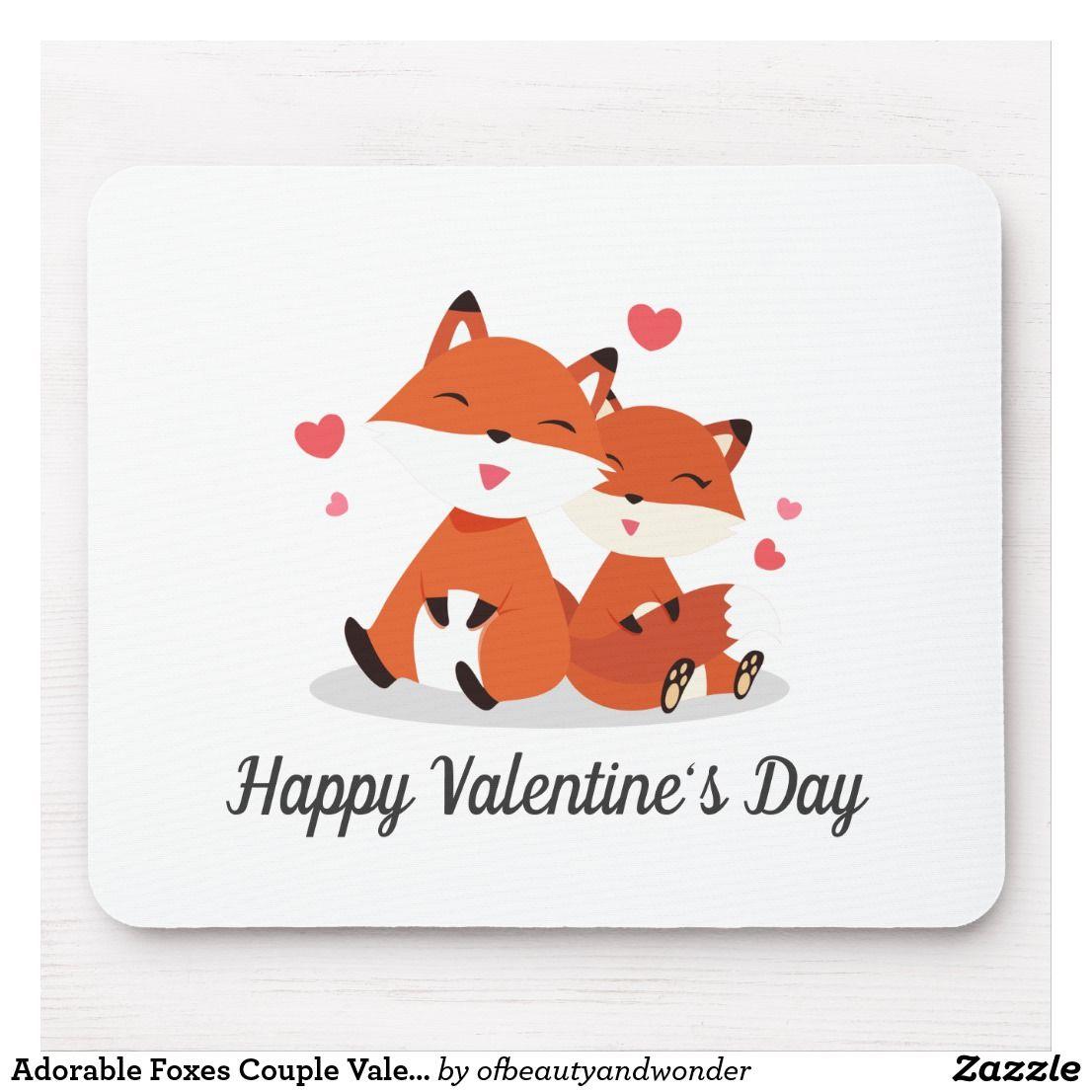 Adorable Foxes Couple Valentine Mouse Pad Zazzle Com Valentines Coasters Happy Valentines Day Valentine