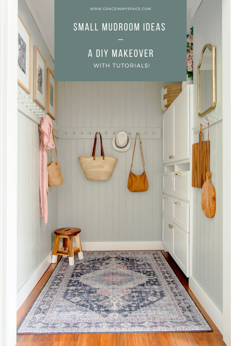 Lacking space? Small mudroom ideas don't have to include mudroom cubbies! Learn how to transform your mudroom with DIY peg rack, an Ikea hack and tongue and groove pine! | ikea hacks hallway small spaces #fromhousetohaven #mudroomideas #smallmudroom #mudroomdesign #smallmudroomdesign #tongueandgroove #pegrack