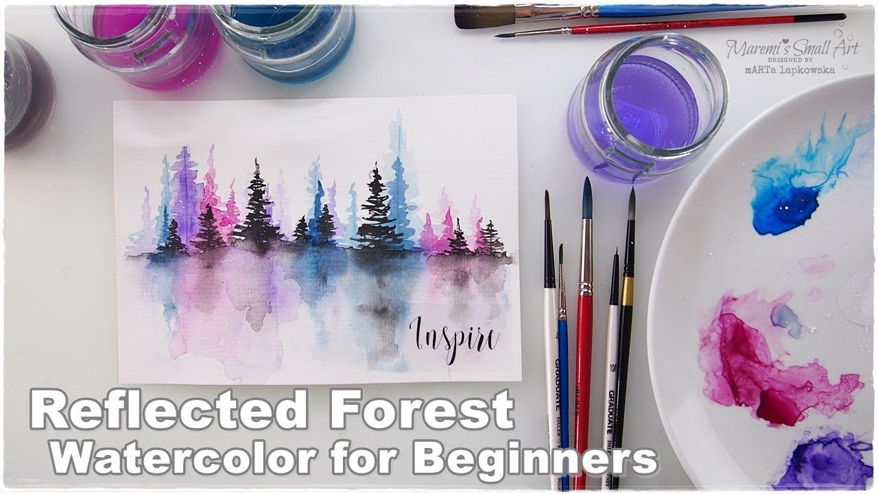 Reflected Forest Watercolor For Beginners By Maremi S Small Art