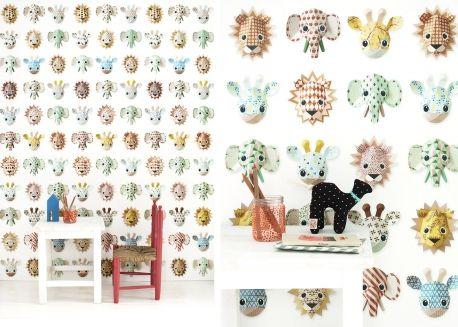 Papier peint enfant design motifs animaux de la savane par studio ditte