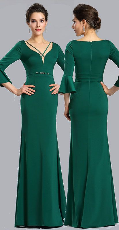 Green V-neck Sleeves Prom women Evening Dress (26181804) in 2018 ...