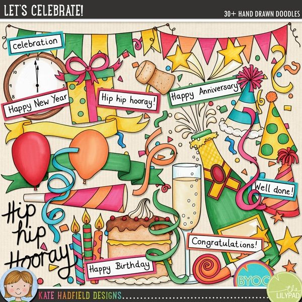 lets celebrate digital scrapbooking elements cute celebration party new years eve clip art hand drawn illustrations for digital scrapbooking