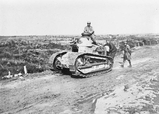 Tank Renault FT-17 on the road near Saint-Julien, on 2 October 1918.