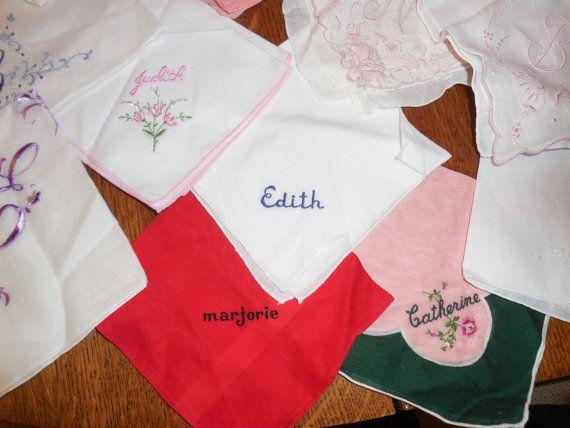 vintage monogrammed handkerchief a b c h j l m by ThePolkaDotAttic